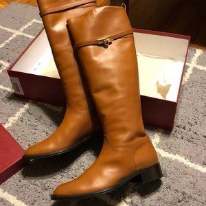 NEW Salvatore Ferragamo gold buckle riding boots 9